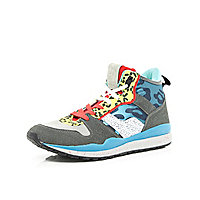 Blue animal print colour block high tops