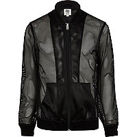 Black RI Studio mesh bomber jacket