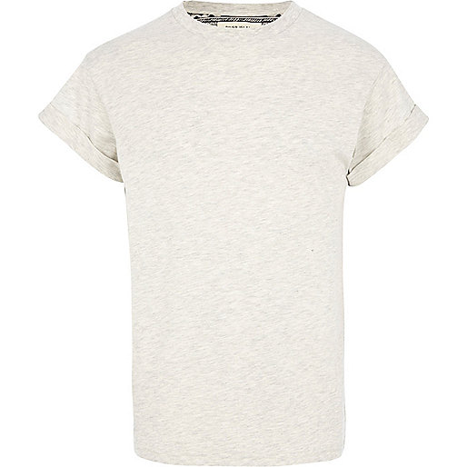 Ecru marl roll sleeve crew neck t-shirt