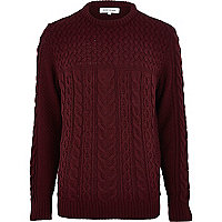 Dark red cable knit high neck jumper