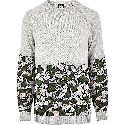 Grey Joseph Turvey camo print jumper