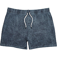 Dark grey acid wash short jersey shorts