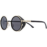 Black and gold tone round aviator sunglasses