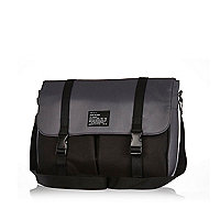 Dark grey colour block nylon bag