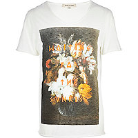 Ecru waiting for sunrise floral print t-shirt