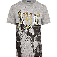 Grey NYC foil print t-shirt