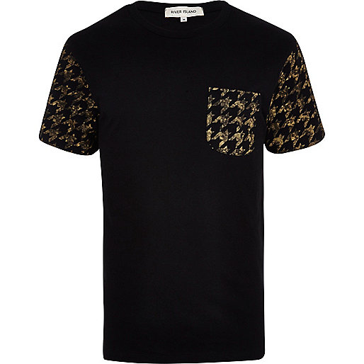 Black dogtooth back print t-shirt