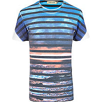 Black sunset stripe print t-shirt