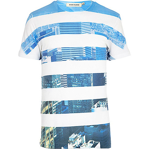 White skyline stripe print t-shirt
