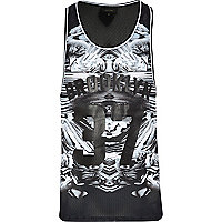 Black mirrored Brooklyn 37 print mesh vest