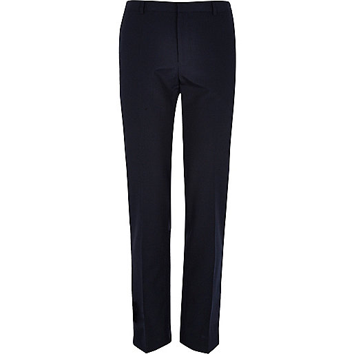 Navy pinstripe slim smart trousers