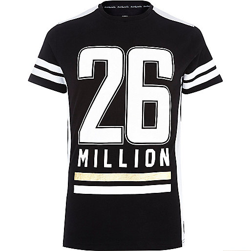 Black 26 Million logo stripe print t-shirt