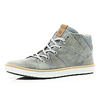 Light grey geometric panel high tops
