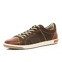 Brown leather and suede panel trainers