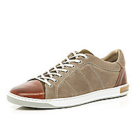 Beige suede and leather panel trainers
