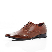 Brown perforated panel formal shoes