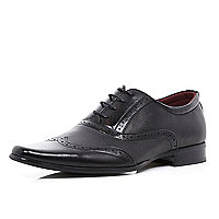 Black perforated panel formal shoes