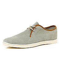 Grey suede contrast trim trainers