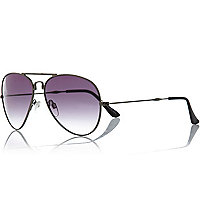 Gunmetal tone foldable aviator sunglasses