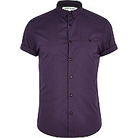 Purple stretch-cotton short sleeve shirt