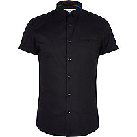 Black stretch-cotton short sleeve shirt