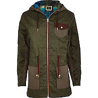 Khaki Holloway Road contrast pocket parka
