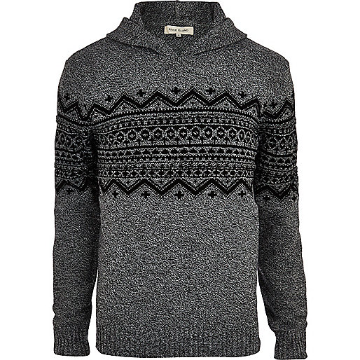 Grey fair isle stripe hooded jumper