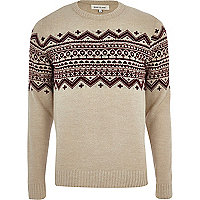Ecru fair isle stripe crew neck jumper