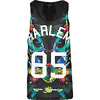 Black tropical Harlem 85 print mesh vest