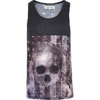 Black skull stars and stripes print vest