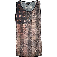 Black stars and stripes print vest