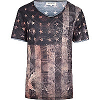 Black stars and stripes print t-shirt