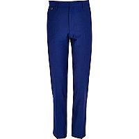 Cobalt blue skinny suit trousers