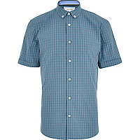 Turquoise check short sleeve shirt