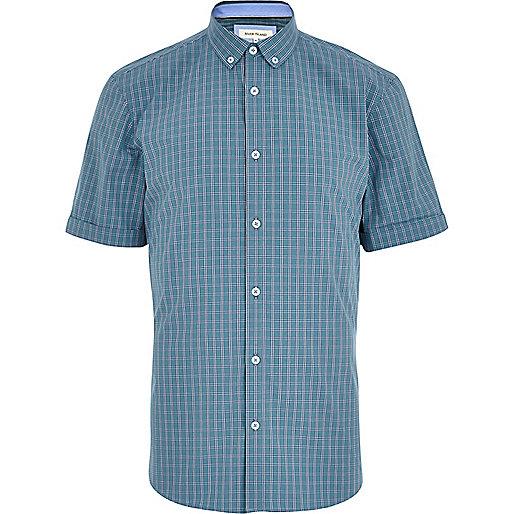 Turquoise check short sleeve shirt