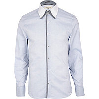 Blue double collar formal shirt