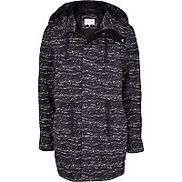 Navy abstract print parka jacket