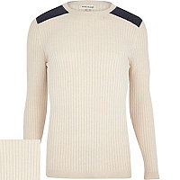 Ecru ribbed shoulder patch jumper