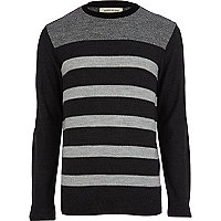 Grey stripe contrast yoke jumper