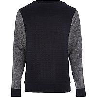 Navy jacquard contrast sleeve sweatshirt