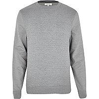 Grey marl geometric jacquard sweatshirt