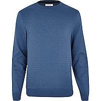 Blue geometric jacquard sweatshirt