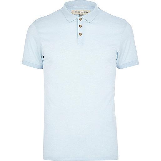 Light blue short sleeve polo shirt