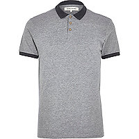 Grey marl contrast collar polo shirt