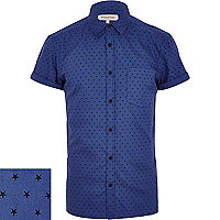 Blue star print shirt
