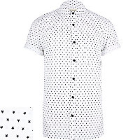 White star print short sleeve shirt