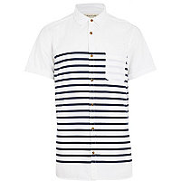 White breton stripe short sleeve shirt