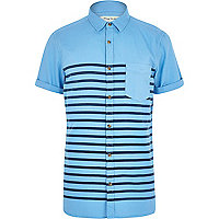 Blue breton stripe short sleeve shirt