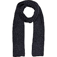 Blue denim effect rib knit scarf