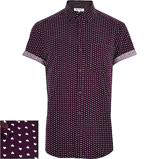 Purple ditsy heart print short sleeve shirt